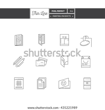 Line Icons Set of Printing objects, corporate identity objects and tools elements. Corporate identity objects, pamphlet, folder, flayer. Logo icons. Vector illustration. Logo icons vector illustration - stock vector