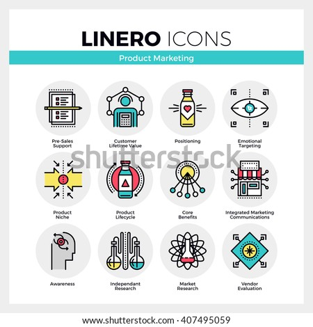 Line icons set of product life cycle, market positioning. Modern color flat design linear pictogram collection. Outline vector concept of mono stroke symbol pack. Premium quality web graphics material - stock vector