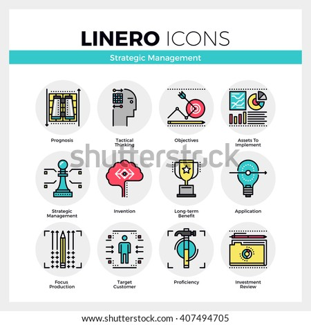 Line icons set of strategic management, long-term success. Modern color flat design linear pictogram collection. Outline vector concept of mono stroke symbol pack Premium quality web graphics material - stock vector
