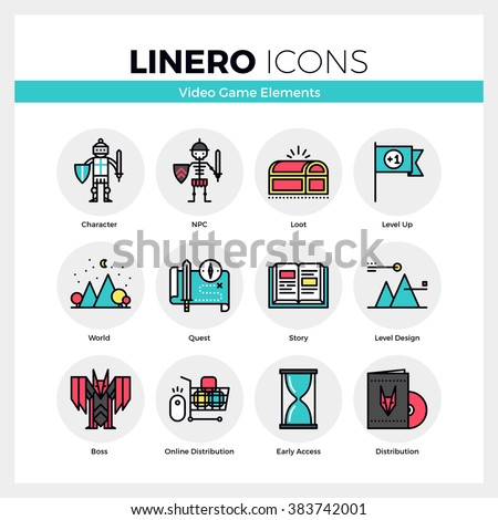 Line icons set of video game character and NPC development. Modern color flat design linear pictogram collection. Outline vector concept of stroke symbol pack. Premium quality web graphics material. - stock vector
