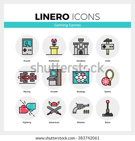 Line icons set of video game genres, retro computer gaming. Modern color flat design linear pictogram collection. Outline vector concept of mono stroke symbol pack. Premium quality graphics material. - stock vector