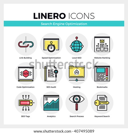 Line icons set of website search engine optimization process. Modern color flat design pictogram collection. Outline vector concept of mono stroke symbol pack. Premium quality web graphics material. - stock vector
