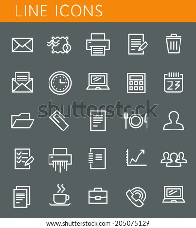 Line icons set. Office and business objects. Vector web design elements - stock vector