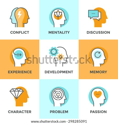 Line icons set with flat design element of partner in conflict, human mind confusion, character experience, people in love and passion, thought purification. Modern vector pictogram collection concept - stock vector