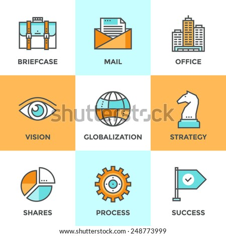 Line icons set with flat design elements of business effective solution, success tactics and strategy decision, globalization and internet communication. Modern vector pictogram collection concept.  - stock vector