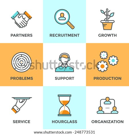 Line icons set with flat design elements of business people communication, professional support, partnership agreement, solving management problems. Modern vector pictogram collection concept.  - stock vector