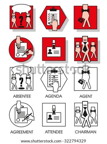 Line icons set with flat design elements of business people of the agreements and meetings. Modern vector pictogram collection concept. Set 04 - stock vector
