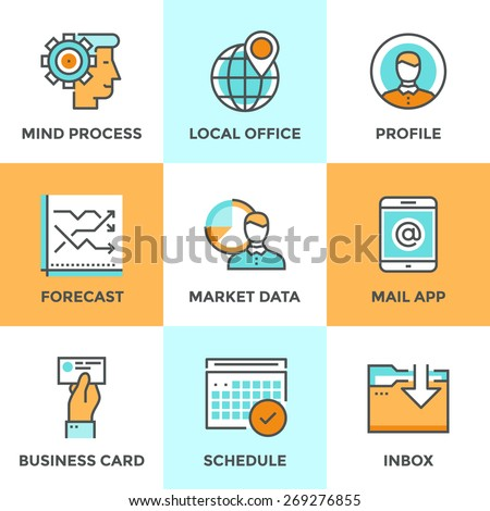 Line icons set with flat design elements of business workflow, people mind process, market data forecast, local office pin mark, work schedule graphic. Modern vector logo pictogram collection concept. - stock vector