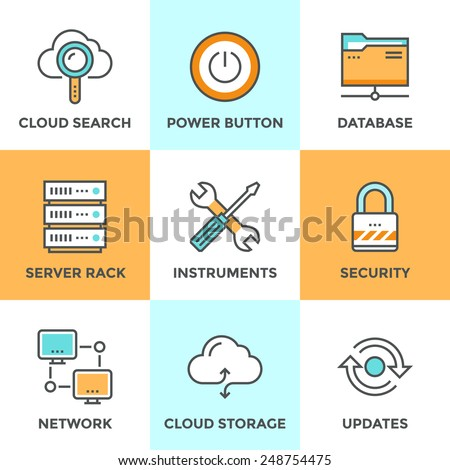 Line icons set with flat design elements of cloud computing communication technology, internet hosting service, network folder sharing, technical tools. Modern vector pictogram collection concept.  - stock vector