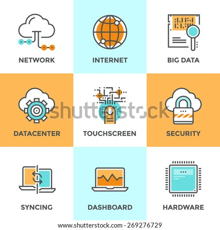 Line icons set with flat design elements of cloud computing network, big data analysis, internet security, syncing computer, datacenter connection. Modern vector logo pictogram collection concept. - stock vector