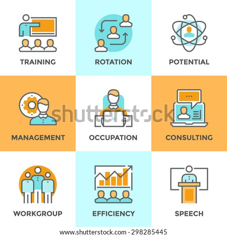 Line icons set with flat design elements of corporate management, business people training, online professional consulting service, efficiency of team skill. Modern vector pictogram collection concept - stock vector