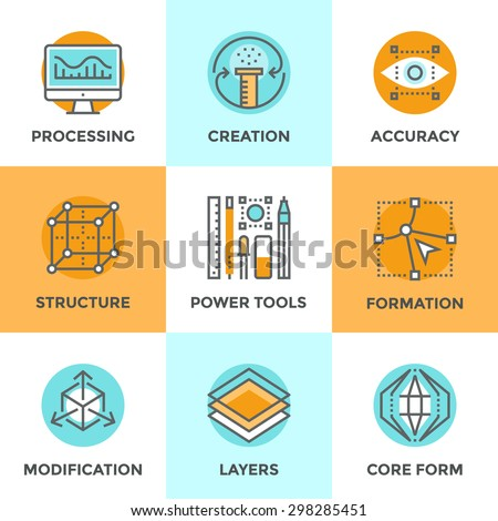 Line icons set with flat design elements of digital graphic tools, 3D formation of unique structure, shape modification process and core idea development. Modern vector pictogram collection concept. - stock vector
