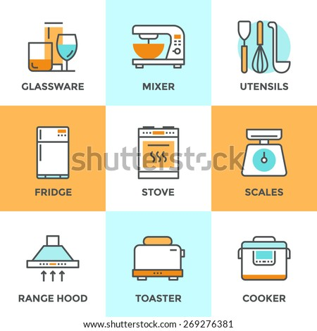 Line icons set with flat design elements of kitchen utensils, glassware and home appliance, fridge and cooker hood, cooking on stove, mixer and toaster. Modern vector logo pictogram collection concept - stock vector