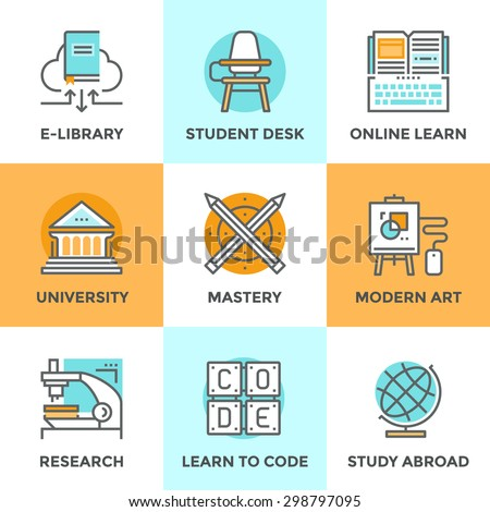 Line icons set with flat design elements of learning skill, education mastery, university building, learn to code, classroom with student desk, study abroad. Modern vector pictogram collection concept - stock vector