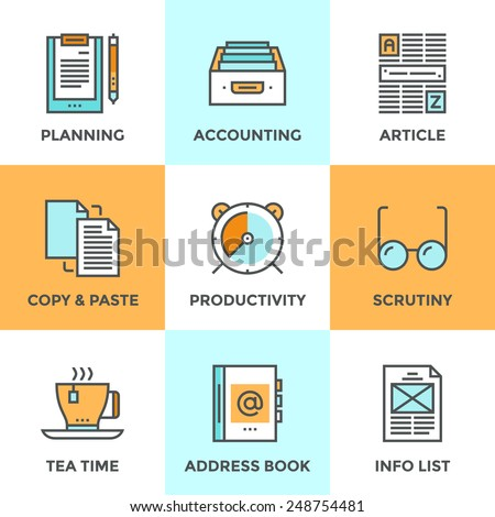Line icons set with flat design elements of office accounting and clerk working routine,  business planning, paperwork routine, personal time management. Modern vector pictogram collection concept.  - stock vector