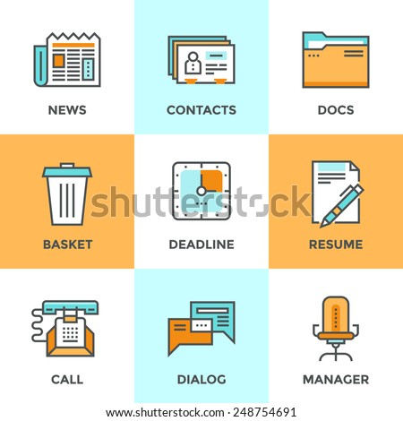 Line icons set with flat design elements of office management process, business organization, selection of human resources and corporate contacts. Modern vector pictogram collection concept.  - stock vector
