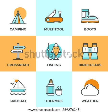 Line icons set with flat design elements of recreation camping activity, directional sign crossroad, hiking and fishing, tent camp, outdoor activities. Modern vector logo pictogram collection concept. - stock vector