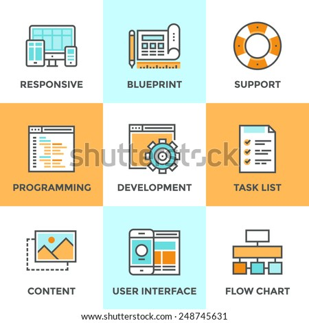 Line icons set with flat design elements of responsive web development service, website programming process, webpage coding and user interface creating. Modern vector pictogram collection concept.  - stock vector