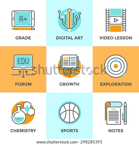 Line icons set with flat design elements of skill growth with reading book, learning information in video lesson, A+ grade on digital tablet, text notebook. Modern vector pictogram collection concept. - stock vector
