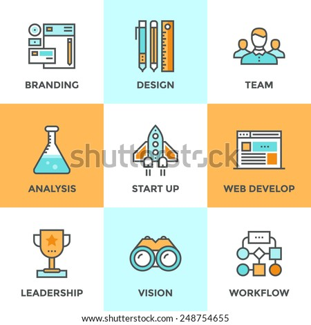 Line icons set with flat design elements of success startup of new product, agency planning and workflow, market analysis, business process development. Modern vector pictogram collection concept.  - stock vector