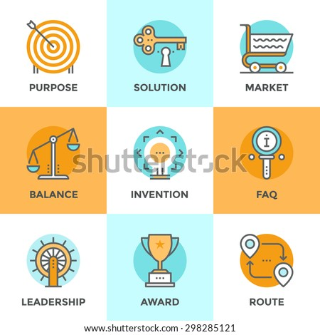 Line icons set with flat design elements of various business symbol, marketing metaphor, key to success solution, route destination pathway, FAQ information. Modern vector pictogram collection concept - stock vector