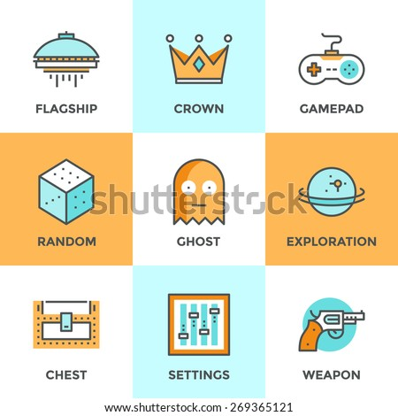 Line icons set with flat design elements of video game, computer gaming, gamepad console, play shooter videogame, indie entertainment development. Modern vector logo pictogram collection concept. - stock vector