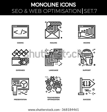 Line icons set with flat design of search engine optimization. Coding, mailing, income, expenses, language, support, presentation, touchscreen optimization, succes. Monoline icons. - stock vector