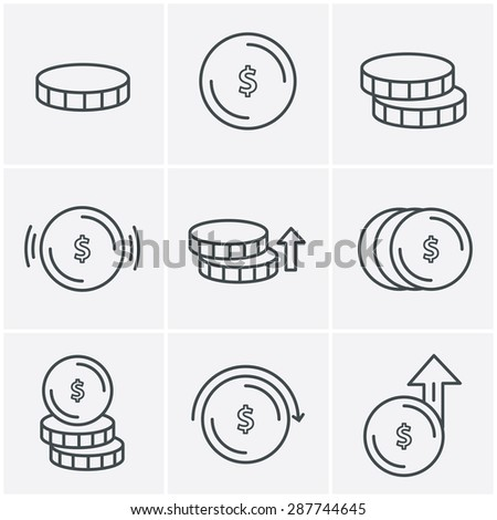 Line Icons Style Coins Icons Set, Vector Design - stock vector