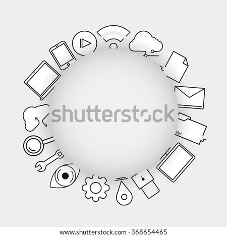 Line icons, technology, internet icons,Modern infographic vector logo