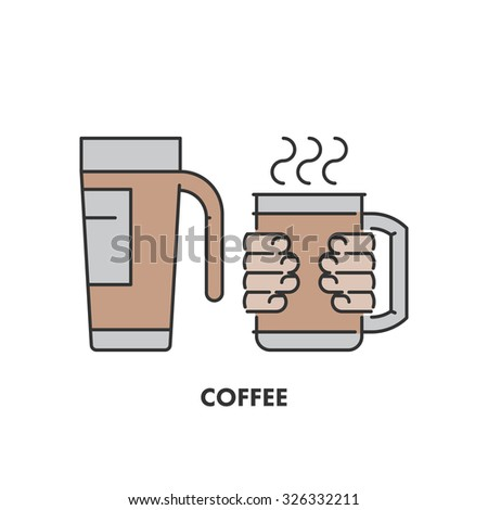 Line icons thermo mug and coffee in color. Vector linear logo for web and site - stock vector