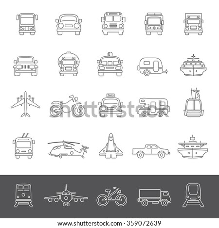 Line Icons - Transportation - stock vector