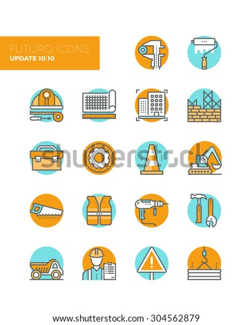Line icons with flat design elements of building construction site process, engineering drawing production, worker toolbox with equipment. Modern infographic vector logo pictogram collection concept. - stock vector