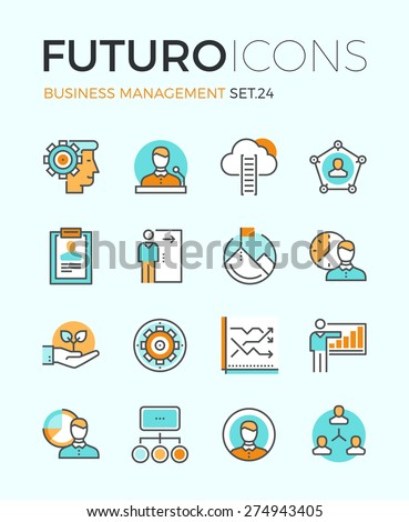 Line icons with flat design elements of business people organization, human resource management, company seminar training, career progress. Modern infographic vector logo pictogram collection concept. - stock vector