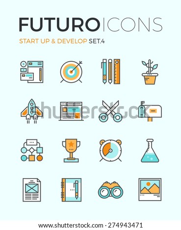 Line icons with flat design elements of business startup, new product develop, digital agency key features, creative organization workflow. Modern infographic vector logo pictogram collection concept. - stock vector