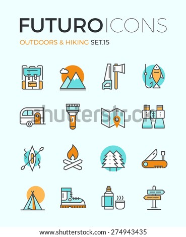 Line icons with flat design elements of camping equipment, hiking activity, outdoors adventure, mountain climbing, recreation tourism. Modern infographic vector logo pictogram collection concept. - stock vector