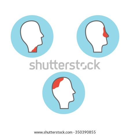 Line icons with flat design elements of catarrhal diseases of the nose, throat, headache. stock vector - stock vector