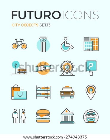 Line icons with flat design elements of city travel sign and objects, transportation infrastructure, museum architecture, trip on vacation. Modern infographic vector logo pictogram collection concept. - stock vector
