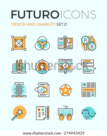 Line icons with flat design elements of graphic design and web product development, UI and UX website making, A/B testing usability project. Modern infographic vector logo pictogram collection concept - stock vector