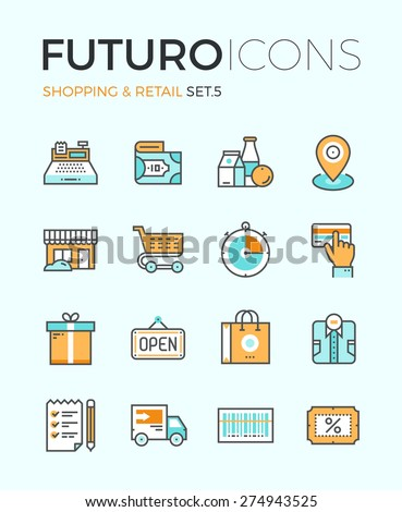 Line icons with flat design elements of market store goods, retail shopping activity, discount for products, consumer items for selling. Modern infographic vector logo pictogram collection concept. - stock vector