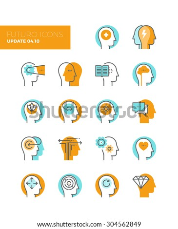 Line icons with flat design elements of mental health and autism problem, human brain process, people mind transformation, head thinking. Modern infographic vector logo pictogram collection concept. - stock vector