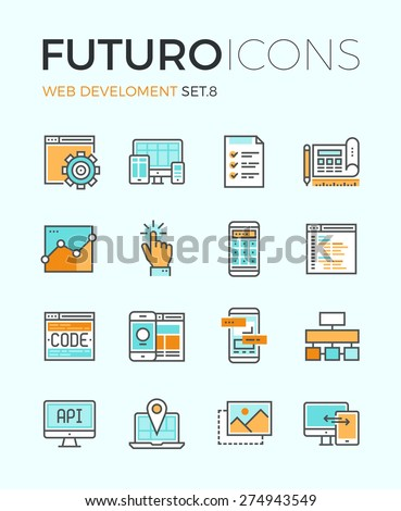 Line icons with flat design elements of responsive website development, web programming process, API interface coding, mobile app UI making. Modern infographic vector logo pictogram collection concept - stock vector