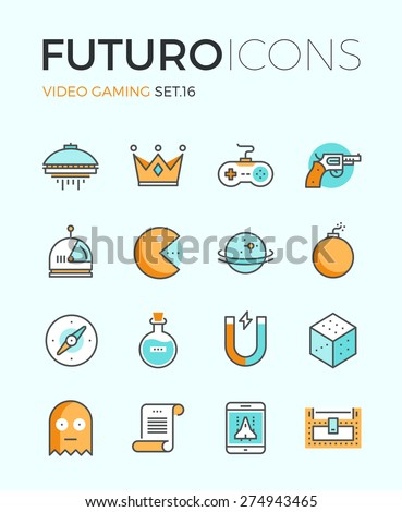 Line icons with flat design elements of video game objects, indie gaming develop, videogame items, gamepad console, resources gathering. Modern infographic vector logo pictogram collection concept. - stock vector