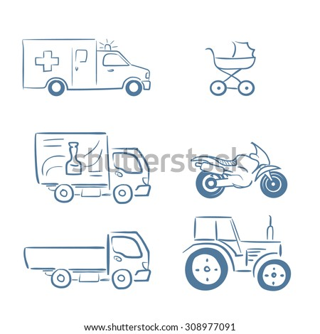 Line icons with sketch design elements of transport. Icon set include: ambulance, pram, small truck, city delivery car, motorcycle and tractor. Infographic vector logo pictogram collection concept. - stock vector