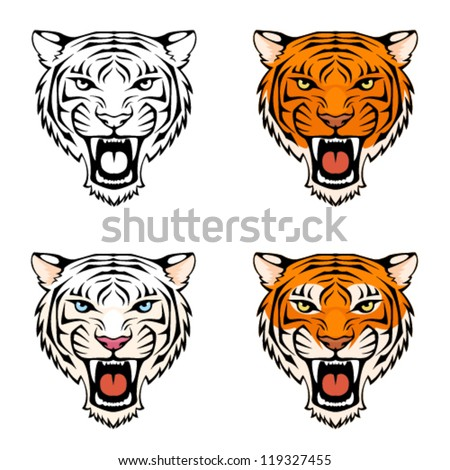 line illustration of a roaring tiger head in various color combinations, suitable as a tattoo or sport team mascot - stock vector