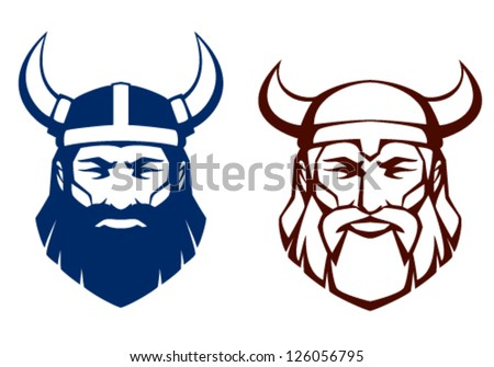 line illustration of an ancient viking warrior, suitable as tattoo or team mascot - stock vector
