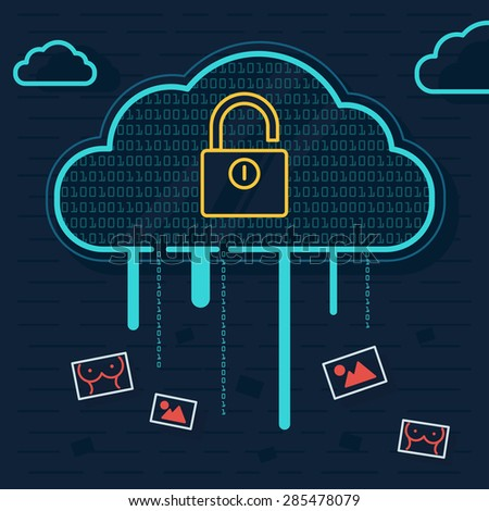 Line Illustration of Cloud Security, Cloud Leaks, Mobile Hacking with Security Wall and Locker - stock vector