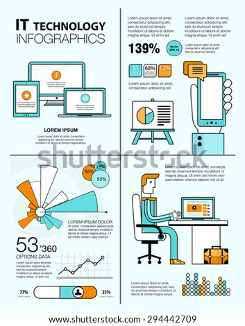 Line infographics with flat design elements of IT technology, customer service, success business management. Modern infographic vector logo pictogram collection concept, blue, white and orange color. - stock vector