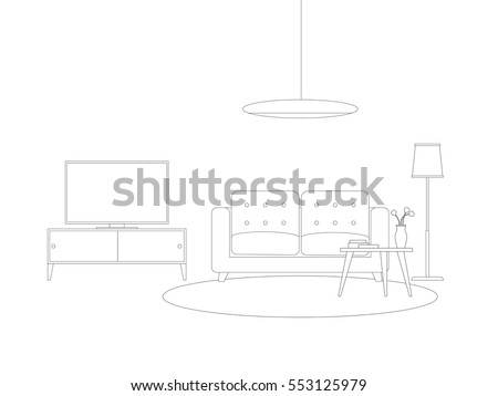 Line Interior Of Living Room With Furniture Vector Thin Illustration Sofa Tv And