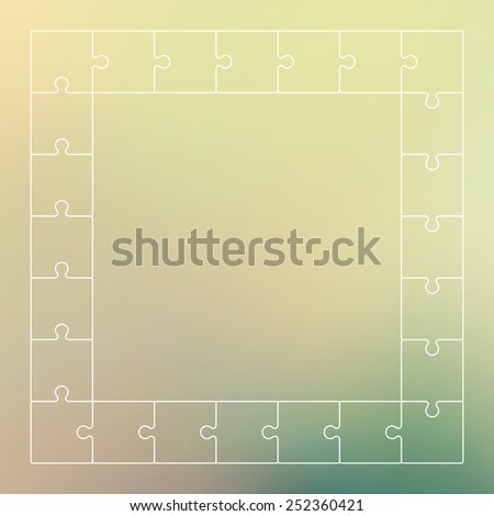 Line jigsaw puzzle frame border. Vector graphic template. - stock vector