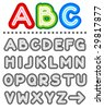 Line letters vector alphabet set, part 1, letters A - Z, shades of gray ( for high res JPEG or TIFF see image 29817892 )